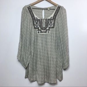 Lucky Brand Embroidered Printed Blouse, 3X